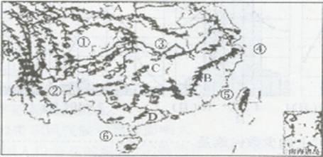我国南方地区略图 (1) 填出图中字母所代表的地理事物的名称。(4分) 山脉:A______、B______;湖泊C是______;河流D是______。 (2) 填出图中数字所代表的地理事物的名称。(6分) . ______盆地,______高原,______平原,______海,______海峡,______海峡。 (3)南方地区的民居屋顶坡度较北方地区大,原因是 ( )(2分)