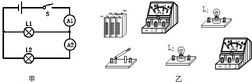 根据图甲所示的电路图把图乙所示的元件连成电路.(注意连线不能交叉).