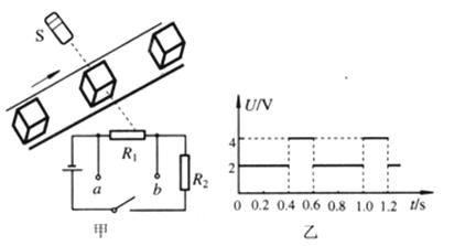 之间时,射向光敏电阻的光线会被产品挡住.