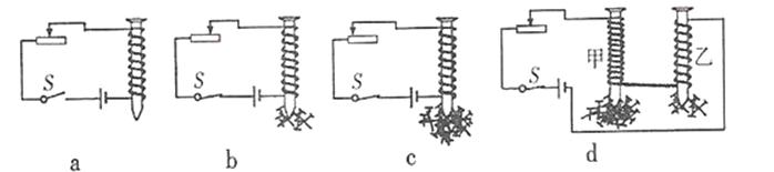 制成简单的电磁铁,结合其它实验器材做了如图所示的实验.
