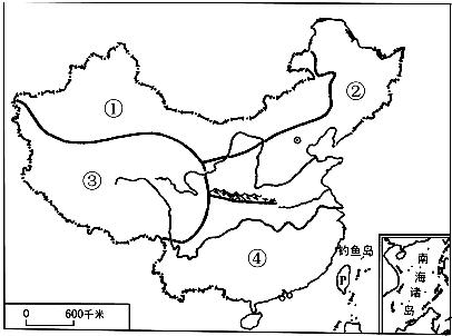 (2013黄冈)读我国四大地理区域示意图,回答下列问题.图片