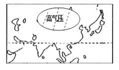 下图是以极点为中心的半球示意图,箭头表示地球自转方向 图例所示的气压带名称是