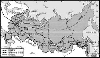 """读""""俄罗斯铁路,管道和城市的分布""""图,以下说法正确的是  (      )图片"""