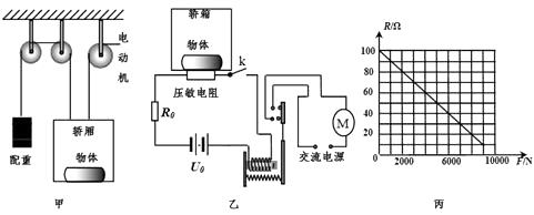 如图乙是其超载控制电路,电源电压u