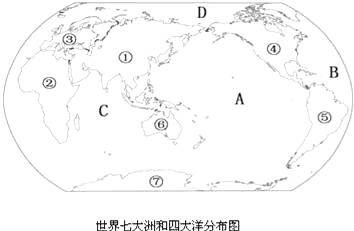 """读""""世界七大洲和四大洋分布图"""",回答下列问题"""