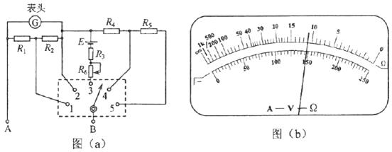 3,r 4和r 5是固定电阻,r 6是可变电阻;表头g的满偏电流为250 μa,内阻