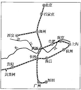 d:合(肥)武(汉)高铁 小亮5月底乘高铁从北京至广州,沿途经过的省区